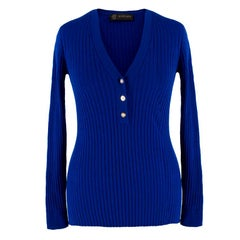 Gianni Versace Medusa button ribbed-knit top US 4