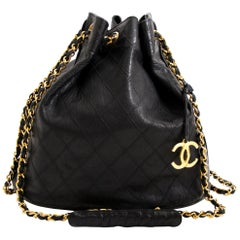 Chanel Black Leather Bucket Bag