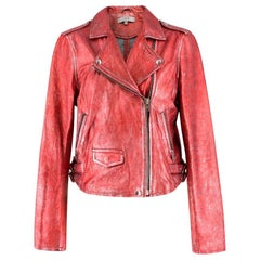 Iro Axelle Red Metallic Moto Jacket US 6