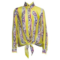 Hermes Yellow Silk Chain Printed Front Tie Long Sleeve Shirt S