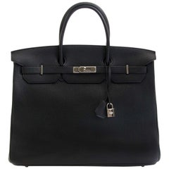 Hermès Birkin 40 Black Clemence Taurillon PHW
