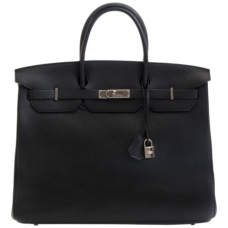 8992058e618d Hermès Birkin 40 Black Clemence Taurillon PHW For Sale at 1stdibs