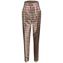 Yves Saint Laurent Paris Multicolor Striped Silk Brocade High Waist Pants M