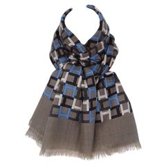 Hermès Shawl Long Scarf Modulation Cashmere and Silk H printed Etoupe Blue