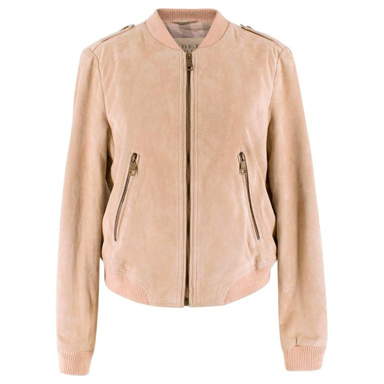 Burberry Brit Sand Suede Bomber Jacket US 4 For Sale