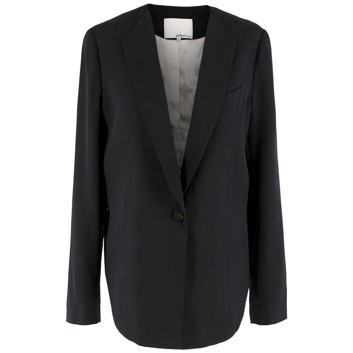Phillip Lim cropped-back silk-faille jacket US 10