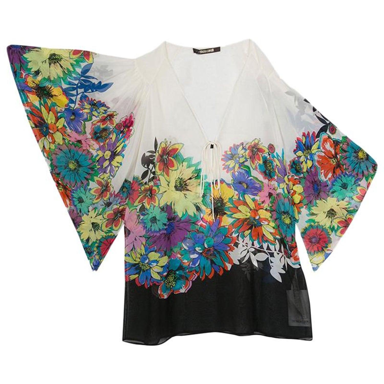 30856de48dfeb Roberto Cavalli Multicolor Floral Printed Silk Kaftan Top S For Sale at  1stdibs