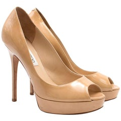 Jimmy Choo Patent Nude Crown Peep Toe Pumps US 7.5