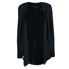 Versace Black Linen Blend Hook Detail Long Sleeve Open Front Jacket M