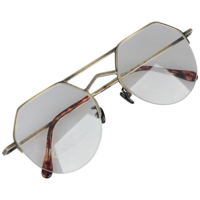 bd8f9209e4fe Gianni Versace Vintage Gold Metal Half Rim Unisex Mint Eyeglasses 542 For  Sale