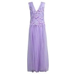 Tadashi Shoji Lilac Lace and Tulle Sleeveless Atataka Gown M