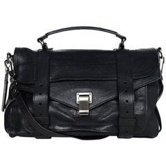 Proenza Schouler Black Lambskin Leather Medium PS1 Satchel Crossbody Bag