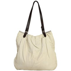 b559e98c003207 Brunello Cucinelli Cream Leather Tote Bag W/ Brown Leather Straps
