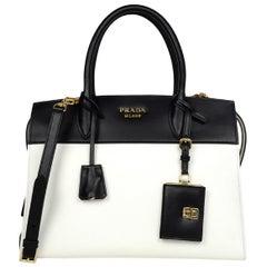 Prada 2018 White Black Bicolor Saffiano Leather Esplanade Tote Bag w  Strap 9f0ff2791f