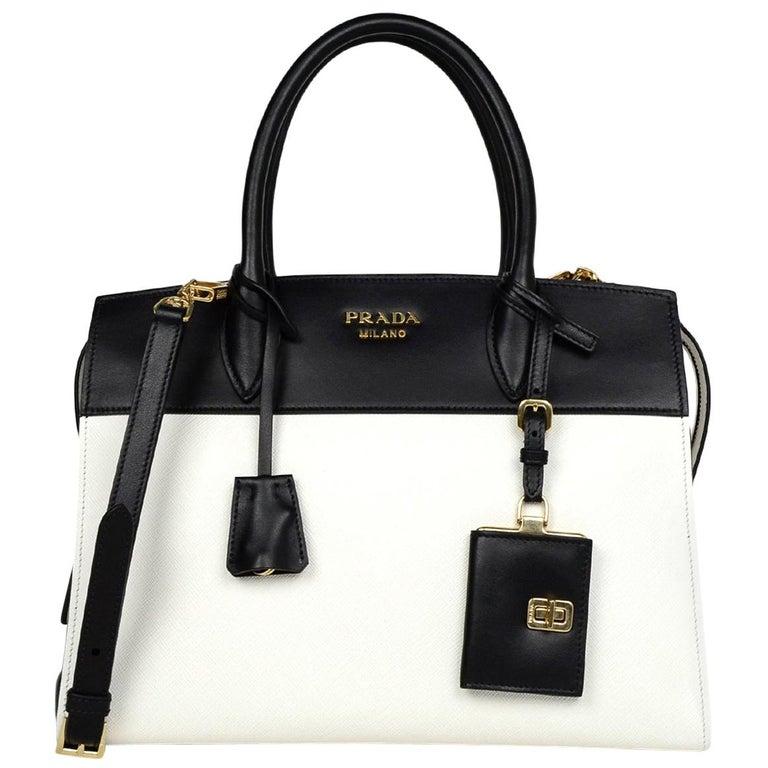 d0b130a27b6a Prada 2018 White/Black Bicolor Saffiano Leather Esplanade Tote Bag w/ Strap  For Sale