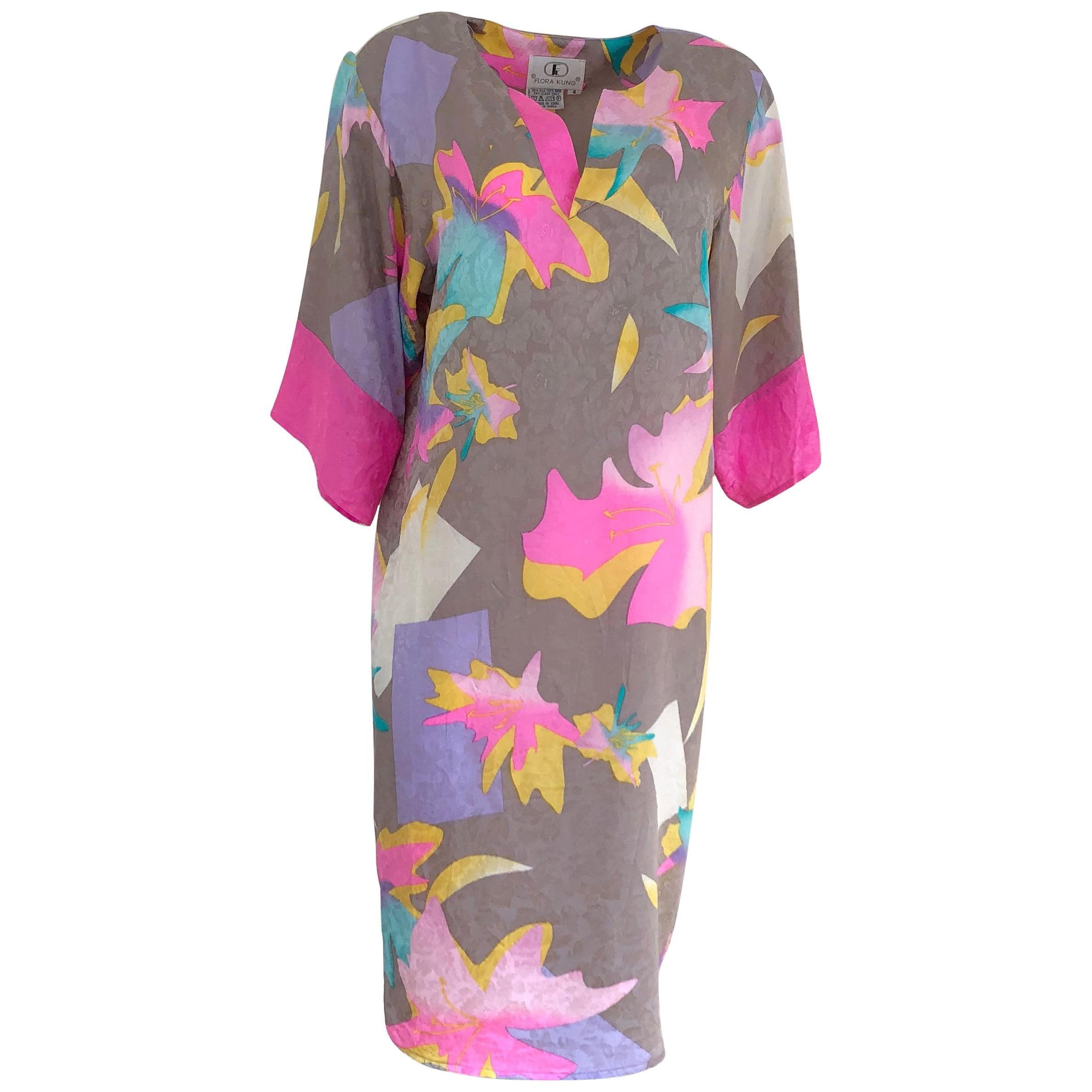 New silk kimono dress by FLORA KUNG in pearl gray with printed neon floral