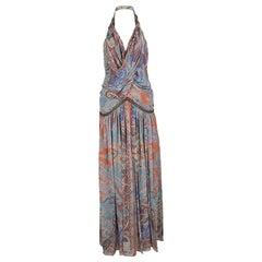 Etro Multicolor Printed Silk Draped Embellished Waist Maxi Dress S
