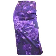Dolce & Gabbana Purple Silk Blend Pencil Skirt