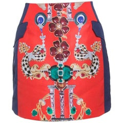 Mary Katrantzou Multicolor Printed Kalion Double Satin Mini Skirt M