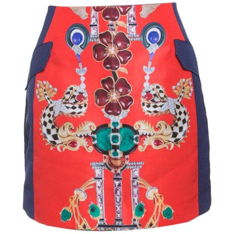 a3b65a0993 Mary Katrantzou Multicolor Printed Kalion Double Satin Mini Skirt M For Sale