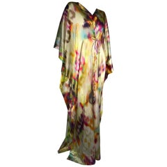 Silk Satin Deconstructed Rainbow Ikat Patterned Caftan W/ Drawstring Under Bust