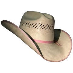 1980s Tony Lama Structured Straw Cowgirl Hat W/ Pink Ribbon Edging & Band