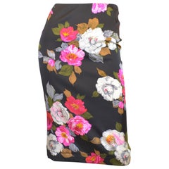 Dolce & Gabbana Silk Pencil Skirt w/Floral Print