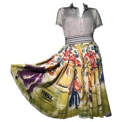A Colorful 1950s Hand Painted Mexican Circle Skirt W/ Oyster Chiffon Blouse