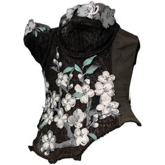 1950s Merry Widow Bustier Embellished W/ Appliqué By Torso Creations