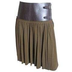 Jean Paul Gaultier Olive Skirt with Leather Band