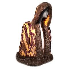 Torso Creations Silk Ikat 1930s Style Caplet W/ Hood & Fox Fur Trim