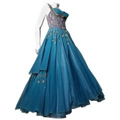 1950s MGM Mme. Etoile by Irene Sharaff Couture Ball Gown in Deep Teal Silk