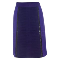 Bottega Veneta Purple and Brown Pleated Plastic Panel Detail Pencil Skirt S