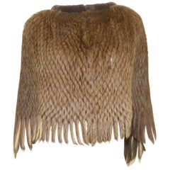 Beaver Fur Knit Cape with Fringe