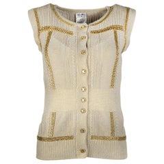 Chanel Grey/Gold Metallic Knit Vest W/ Chain Detailing & CC Shield Buttons Sz 38
