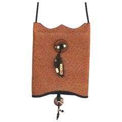 Vintage Ostrich Gem Tassels Crossbody Bag- Lightweight Compact-1970s