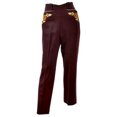 Rare Vintage Vaquero Brown Wool Pants Womens Western Trousers W/ Embroidery Sz 8