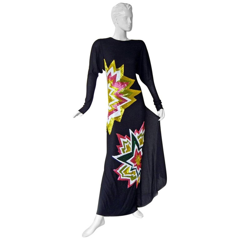 Tom Ford Lichtenstein-esque Ka-Pow Explosive Appliques Dress Gown  New! For Sale
