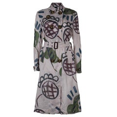 Burberry Prorsum Pink Printed Organza Double Breasted Belted Trench Coat S