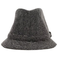 Philip Treacy Grey Wool Herringbone Print Hat