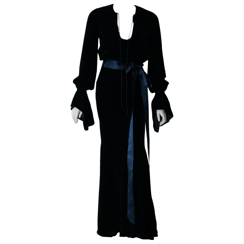 Alexander Vauthier Velvet Navy Maxi Dress