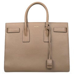 Saint Laurent Taupe Grained Calfskin Leather Large Sac De Jour Tote Bag