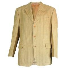 Romeo Gigli Men's Vintage Mustard Yellow Pinstripe Linen Blazer Jacket, 1990s