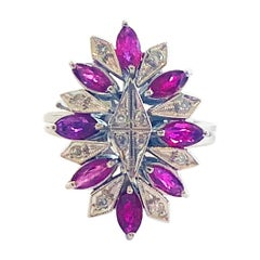 Art Deco Marquise Ruby and Diamond Palladium and white gold ring