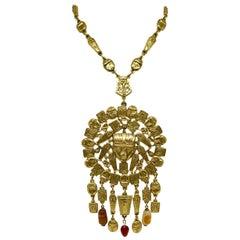 Circa 1960s Goldette Large Goldtone Egyptian Revival Necklace