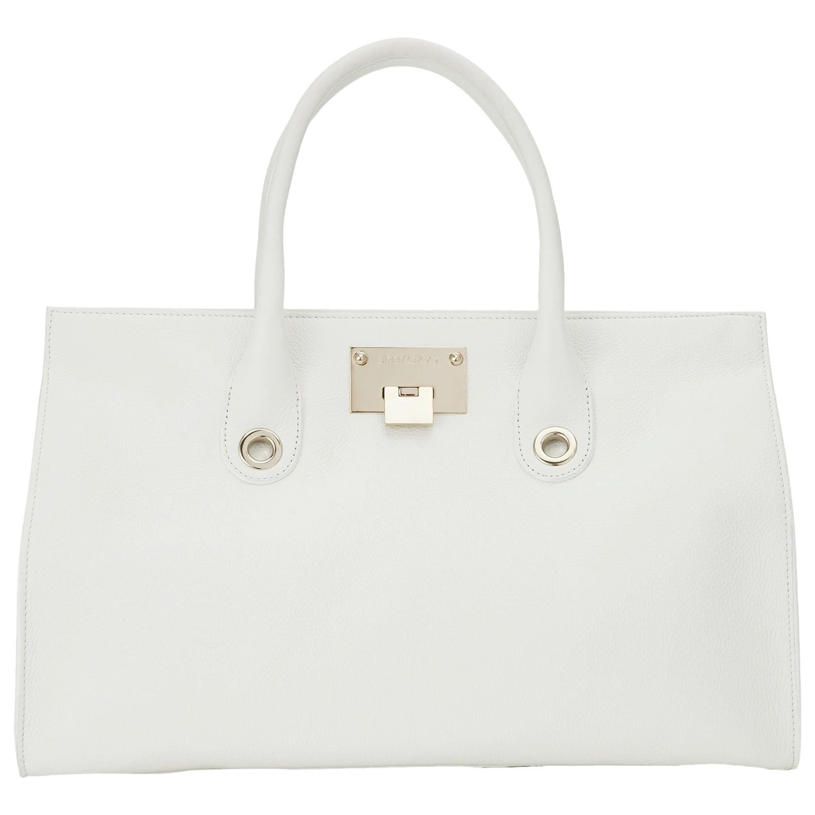 2b43eed0ab New Jimmy Choo *Riley* White Grainy Calf Leather Tote Cross-body Large Bag  at 1stdibs