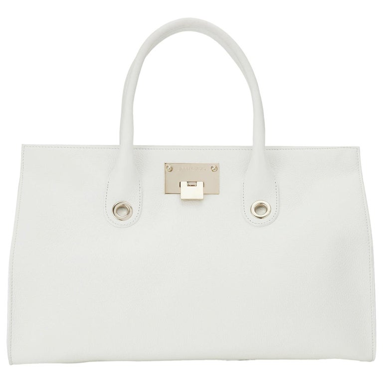 New Jimmy Choo *Riley* White Grainy Calf Leather Tote Cross-body Large Bag For Sale