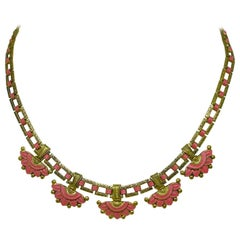 Circa 1920s Egyptian Revival Coral-Orange Enameled Necklace