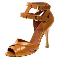Sergio Rossi Orange Leather Cross Strap Peep Toe Sandals Size 38