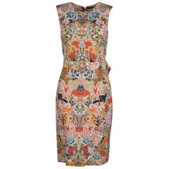 Alexander McQueen Floral Kaleidoscope Print Sleeveless Belted Cocktail Dress M